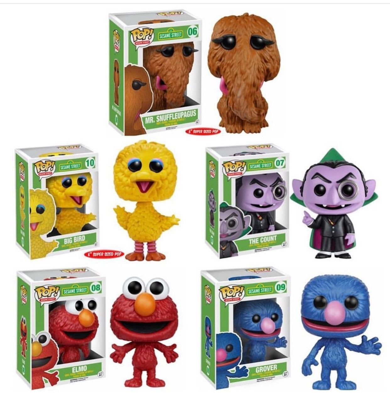 The Count Elmo Grover Big Bird Snuffleupagus Wave 2 Funko Pop TV Sesame Street (Collector Set of 5) Vinyl... by