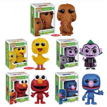 The Count - Elmo - Grover - Big Bird - Snuffleupagus Wave 2 Funko Pop TV Sesame Street (Collector Set of 5) Vinyl Action Figure Figurine Kids Room Decor Collectible - Sesame Street Characters Snuffleupagus