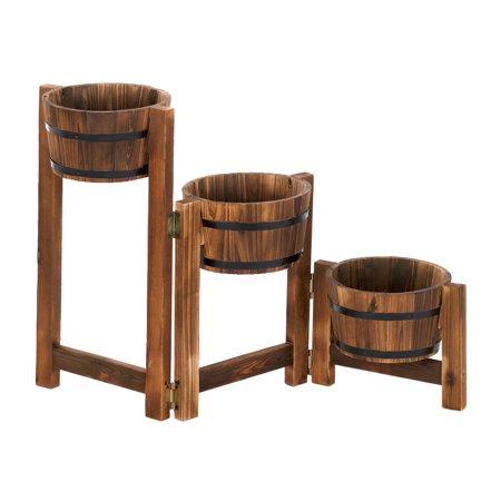 Wooden Planter Boxes, Large Planters, Contemporary Apple Barrel Planter Ladder