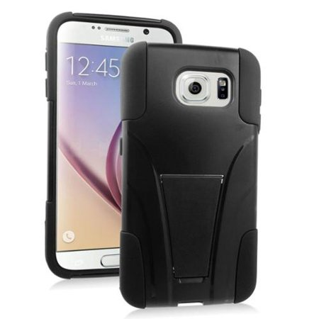 Plastic Dual Stand - Insten Hard Dual Layer Plastic Silicone Case with stand For Samsung Galaxy S6 - Black