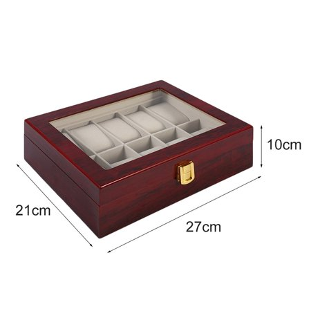 Practical 10 Grids Wooden Watch Box Jewelry Display Collection Storage Case - image 4 de 11