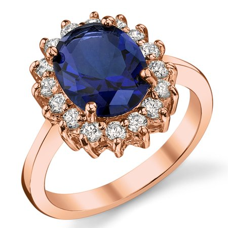 Ring Wright Co. Rose Gold Tone Over Sterling Silver Kate Middleton's Engagement Ring Simulated Sapphire Cubic