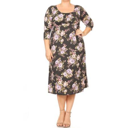 PLUS SIZE Women's Trendy Style Babydoll Print Knit Dress
