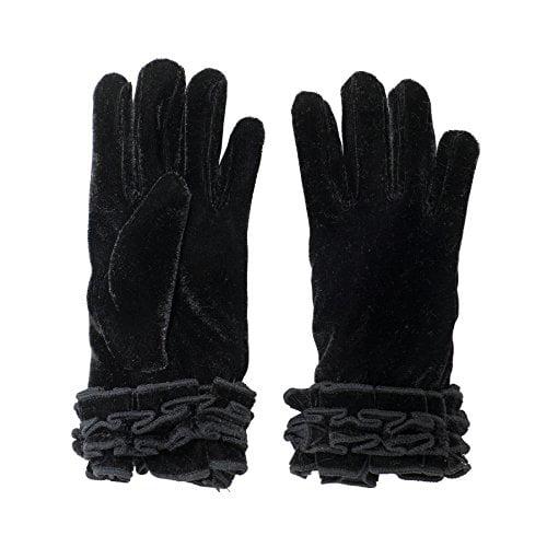 SANREMO Girls Velvet Fleece Lined Thinsulate Warm Winter Gloves (7-14, Black)