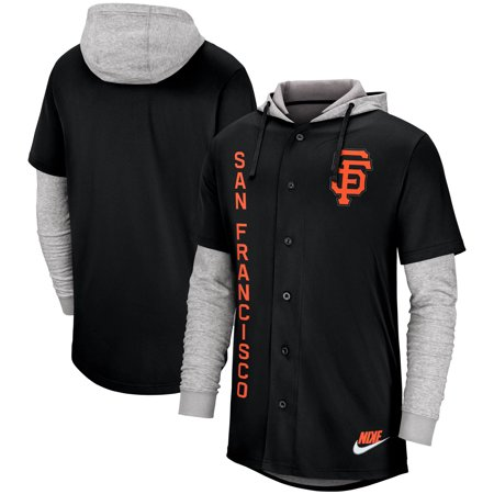 San Francisco Giants Nike Jersey Button-Up Hoodie - Black