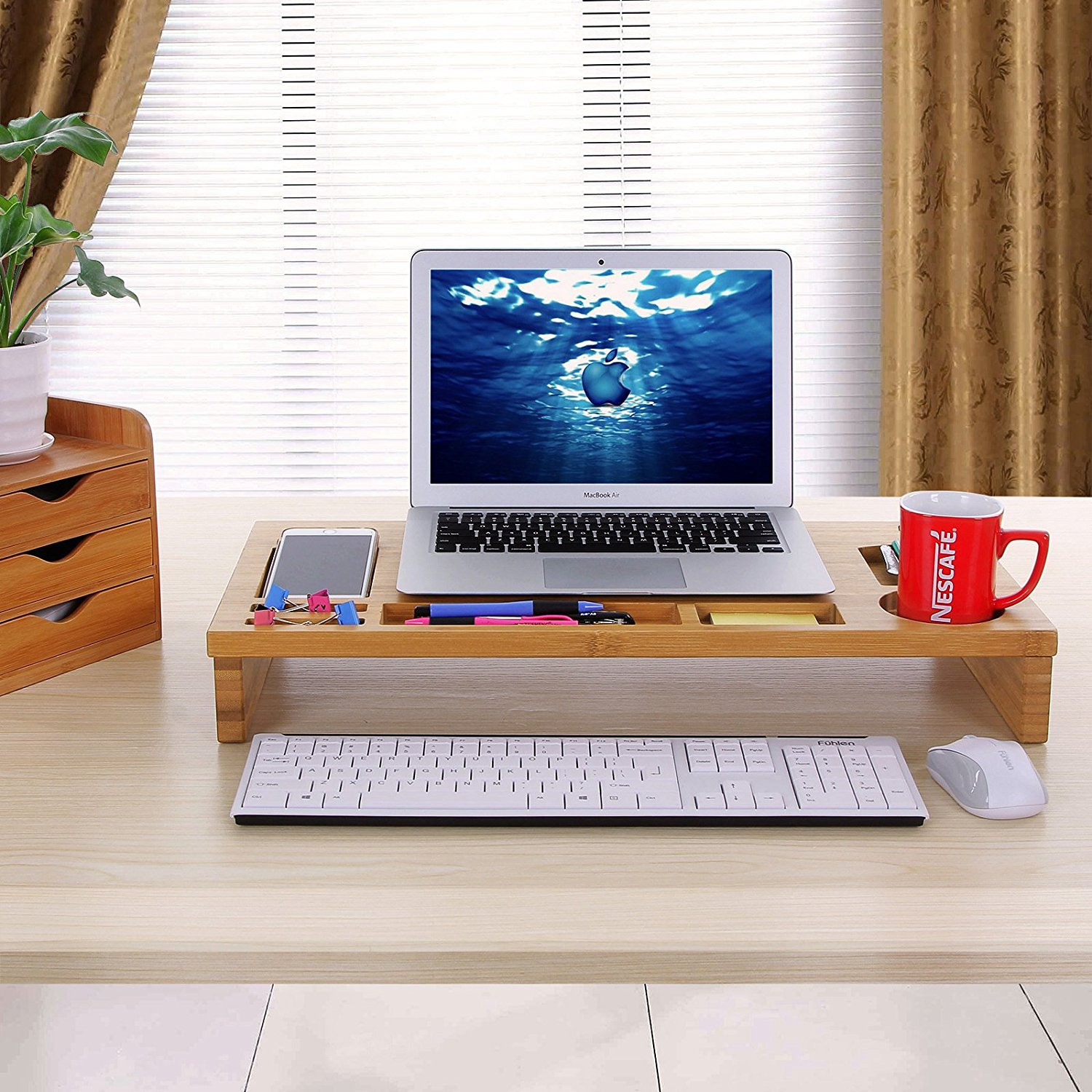 Mics Bamboo Monitor Stand Riser With Storage Organizer Laptop Cellphone Tv Printer Desktop Container Ulld201 Com