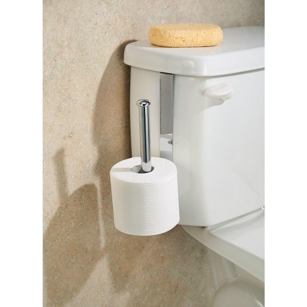 InterDesign Classico Toilet Paper Holder for Bathroom Storage, Over the Tank, Vertical, Chrome
