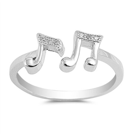 White CZ Open Music Note Ring .925 Sterling Silver Band Size 4 ()