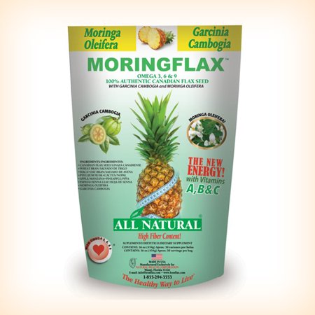 MORINGFLAX FORMULA 100% NATURAL CANADIAN FLAX SEED WITH GARCINIA CAMBOGIA AND MORINGA OLEIFERA 16 OZ.