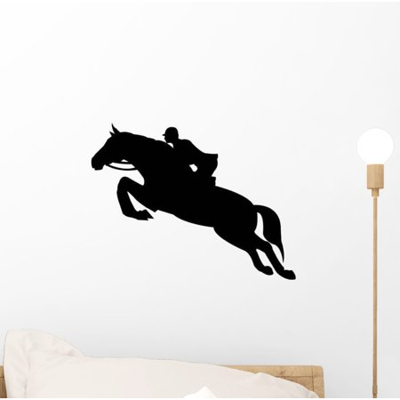 Jumping Horse Silhouette Wall Decal Sticker, Wallmonkeys Peel & Stick Vinyl Graphic (12 in W x 10 in H) (Jumping Vinyl Decal)