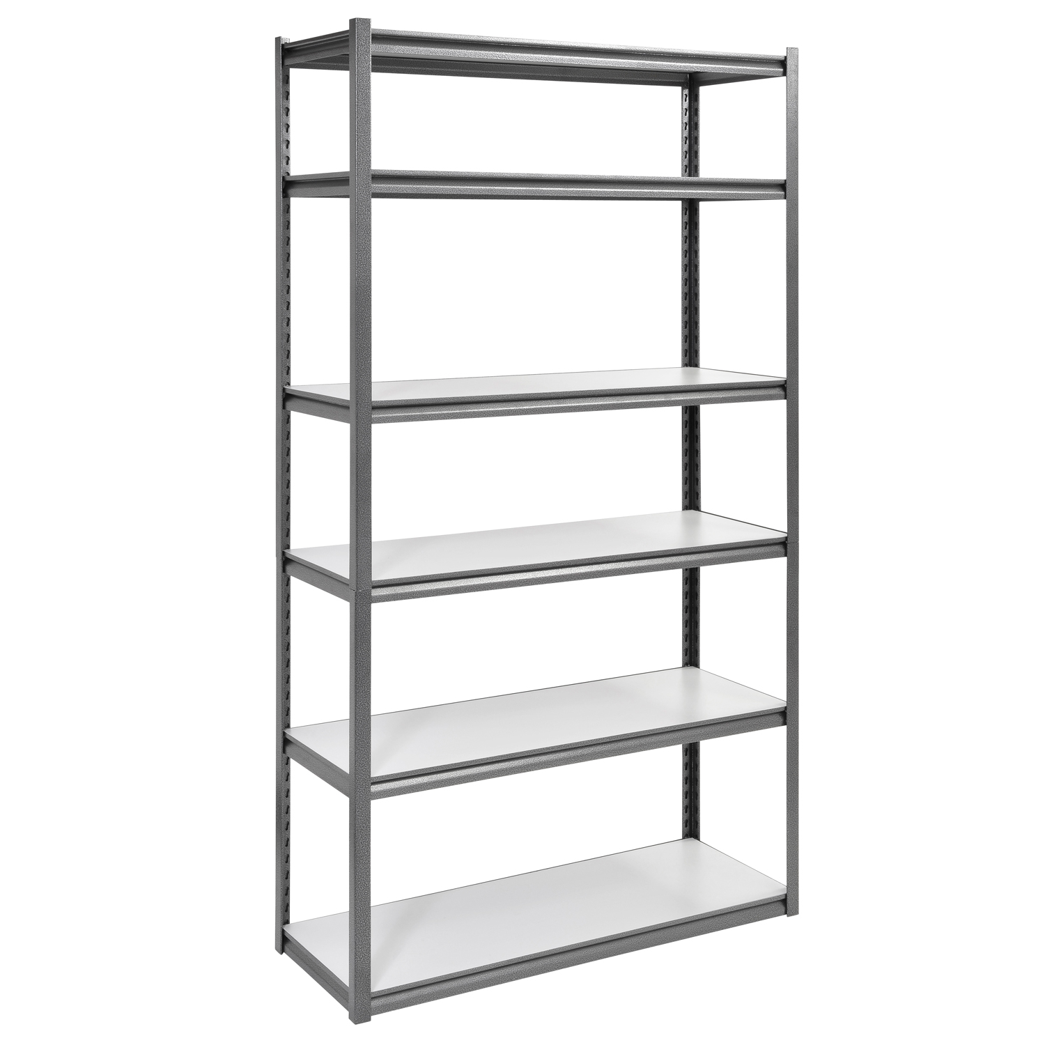 "6-Shelf 48""W x 84""H x 18""D Steel Storage Shelving Unit, Silver Vein"