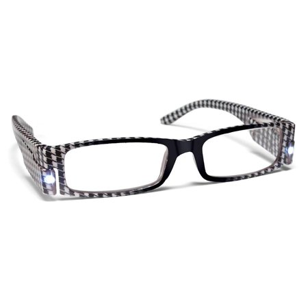 PS Designs 01416 - LED Houndstooth Frame +1.25 Lighted Reading Glasses - Glasses With Led