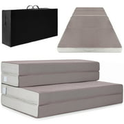 Best Choice Products 4in Thick Folding Portable Twin Mattress Topper w/ Carry Case, High-Density Foam, Washable Cover