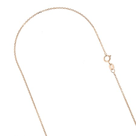 14K Solid Rose Gold 1.1mm Wide Diamond Cut Cable Link Chain 18 Necklace with Spring Ring Clasp