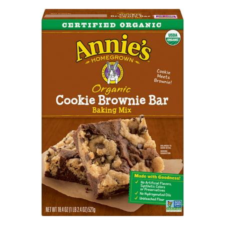 (2 Pack) Annie's Organic Cookie Brownie Bar Baking Mix, 18.4 oz