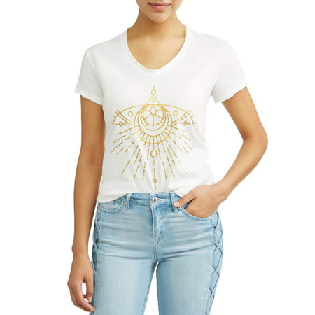 Sofia Jeans By Sofia Vergara Gold Evil Eye Short Sleeve V-Neck Graphic T-Shirt Women's