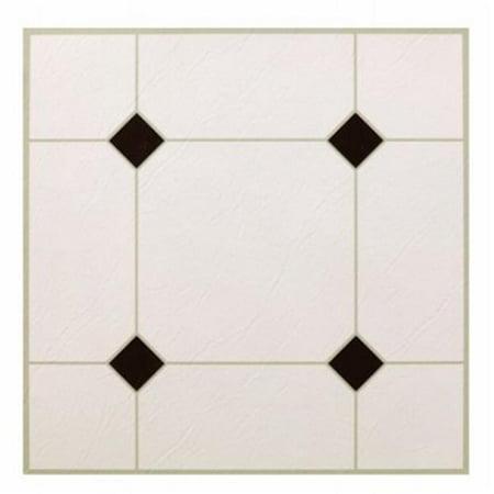 KD0309 12.25 x 1.5 in. 5Th Avenue Black & White Peel & Stick Vinyl Floor Tile - 30 (Black & White Tile)