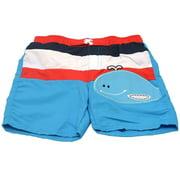 Little Boys Blue White Red Stripe Whale Applique Swimwear Trunks 2T