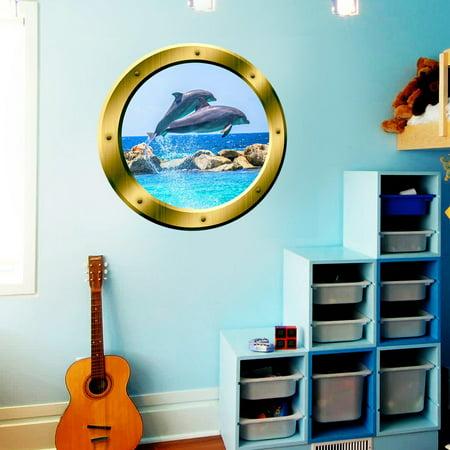 "VWAQ Dolphins Wall Sticker Porpoise Porthole 3D Wall Decal Peel And Stick Decor - GP27 (20"" Diameter)"