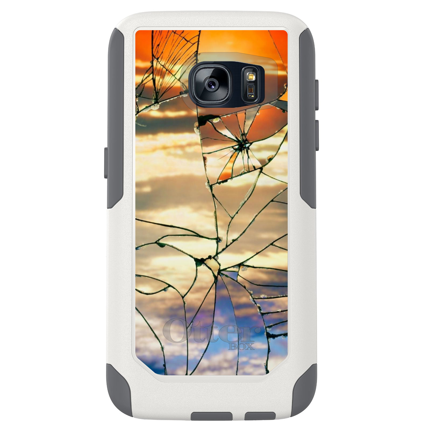 DistinctInk™ Custom White OtterBox Commuter Series Case for Samsung Galaxy S7 - Shattered Glass Sunrise