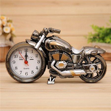 Creative Motorcycle Kids Toys Quartz Alarm Clock Desktop Clock Decor For Home Office Cafe