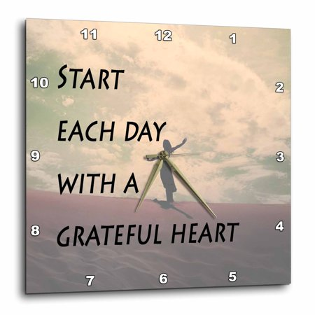3dRose Start each day with a grateful heart, expression, woman at peace background, Wall Clock, 13 by 13-inch](Womens Cloak)