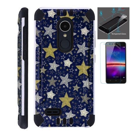 For LG Stylo 3 Case / LG Stylo 3 Plus Case (2017) LS777 MP450 M430 + Tempered Glass Screen Protector / Slim Dual Layer Brushed Texture Armor Hybrid TPU KomBatGuard Phone Cover (Night Star)