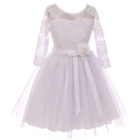 Little Girls Long Sleeve Girls Dress Floral Lace Roses Corsage Easter Flower Girl Dress White 4 - Girls White Lace Dress