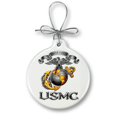 USMC Marine Corps-SEMPER FIDELIS-Christmas Tree - Patriotic Christmas Ornaments