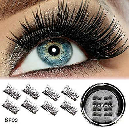 Vassoul Dual Magnetic Eyelashes-0.2mm Ultra Thin Magnet-Lightweight & Easy to Wear-Best 3D Reusable Eyelashes Extensions With Tweezers