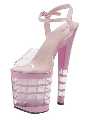 709c112371b5 Product Image Womens Striped Platform Sandals Sexy 8 Inch High Heels Black  Pink Red or White