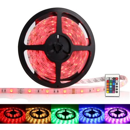 (Generic 16.4ft 5M Waterproof Flexible strip 300leds Color Changing RGB SMD3528 LED Light Strip Kit RGB+24Key Remote+12V 5A Power Supply)