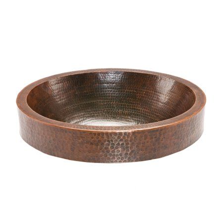 Premier Copper Products VO18SKDB Oval Skirted Vessel Hammered Copper (Small Round Skirted Vessel Hammered Copper Sink)