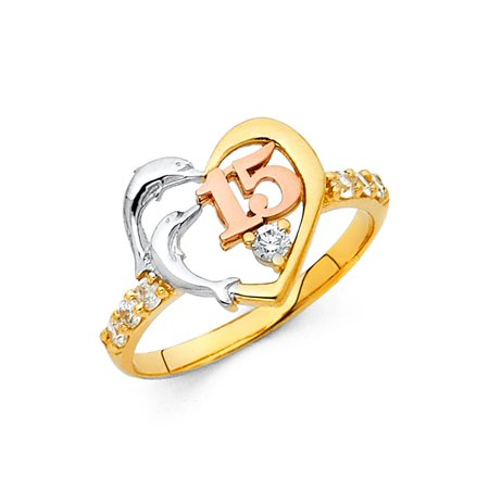 (Dolphin Quinceanera 15 Ring Solid 14k Yellow White Rose Gold Heart Band Quince Good Luck Fancy)