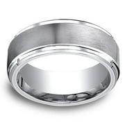 Cobalt Men's 9mm Satin Center and High-polish Step-down Beveled Edge Comfort Fit Ring Size 12