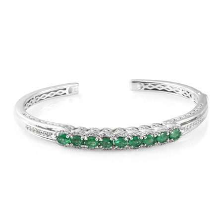 - 925 Sterling Silver Platinum Plated Oval Emerald Zircon Cuff Bangle Bracelet for Women 7.25