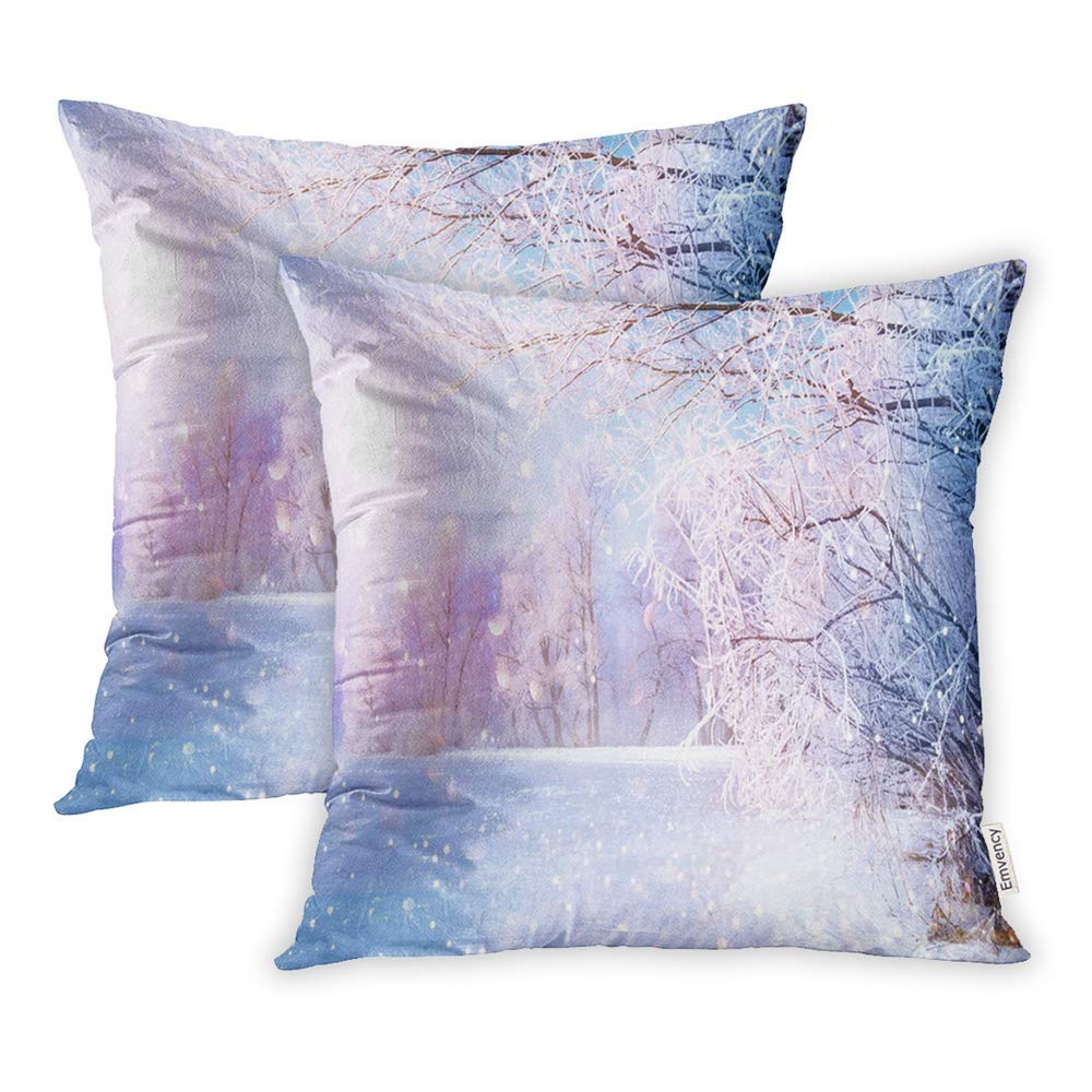 CMFUN Beautiful Winter Landscape Scene Wit Snow Covered Trees Ice River Beauty Pillow Case Pillow Cover 18x18 inch Set of 2