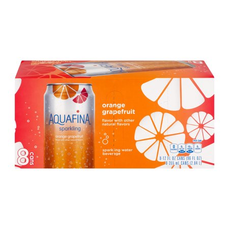 Aquafina Sparkling Water, Orange Grapefruit, 8 Fl Oz, 8 Count