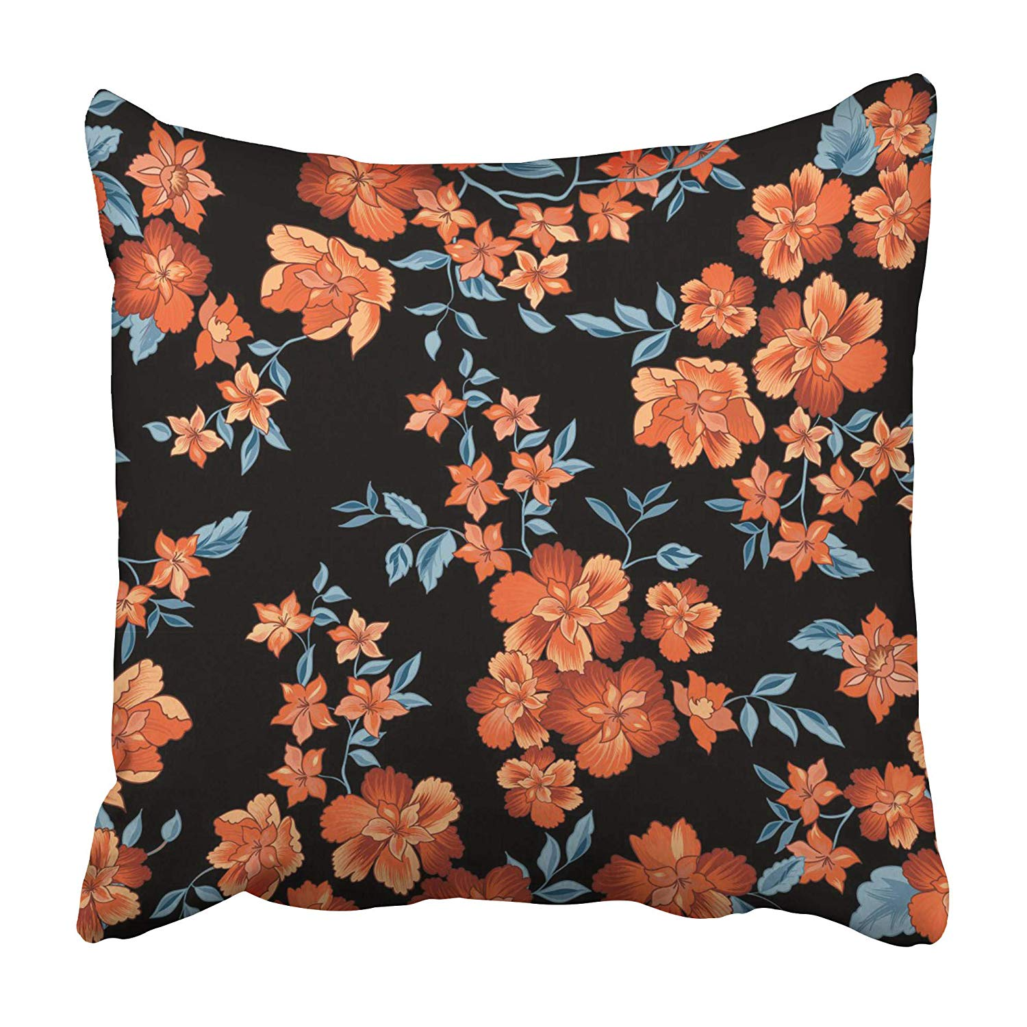 USART Ditsy Floral Flower Flourish Ornamental Summer with Abstract Black Bloom Blossom Pillowcase 20x20 inch