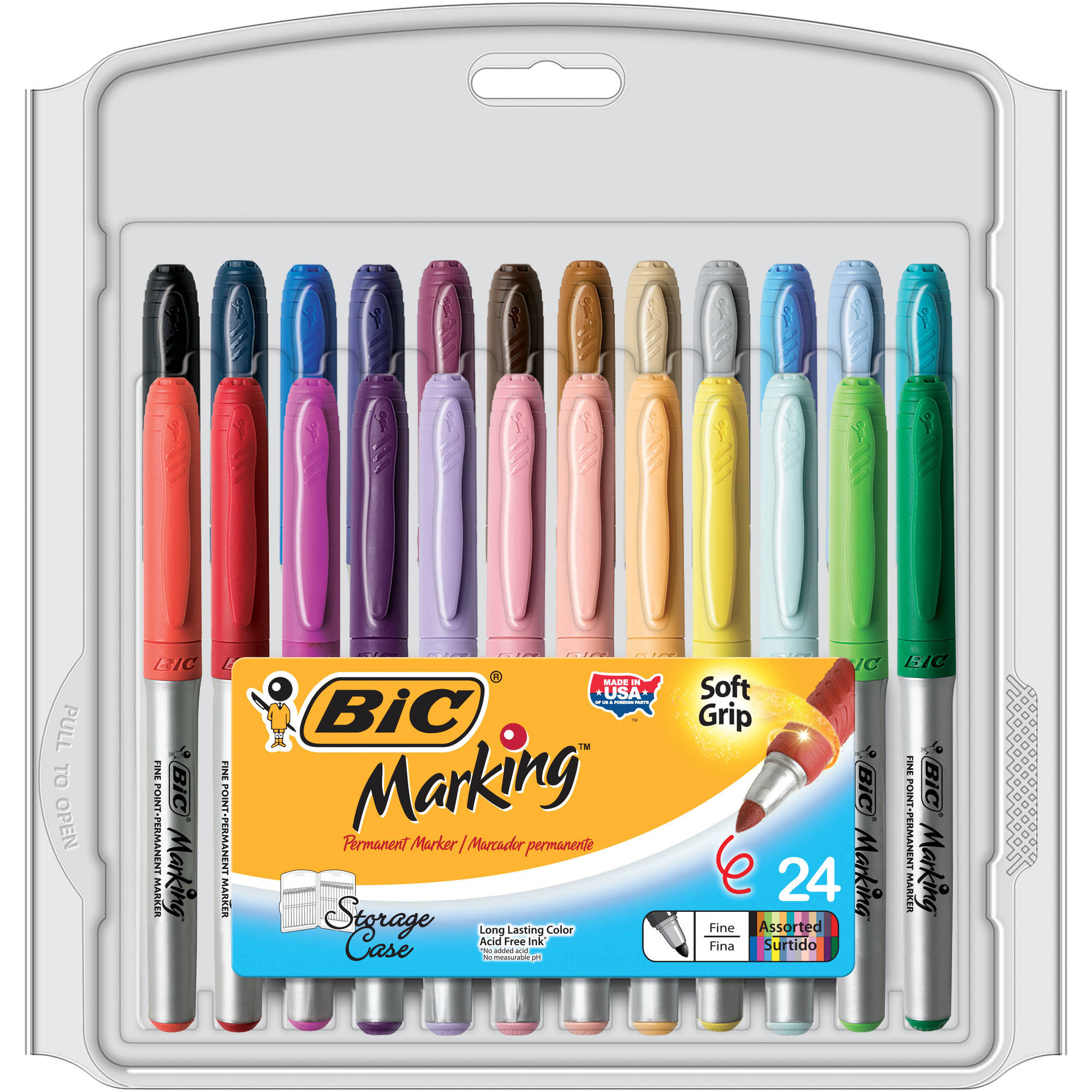 BIC Marking Color Collection Permanent Markers Fine Point 24-Count Package