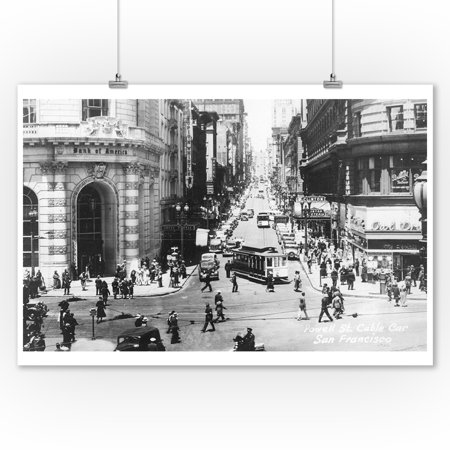 San Francisco, California - Powell Street Cable Cars - Vintage Photograph (9x12 Art Print, Wall Decor Travel Poster)