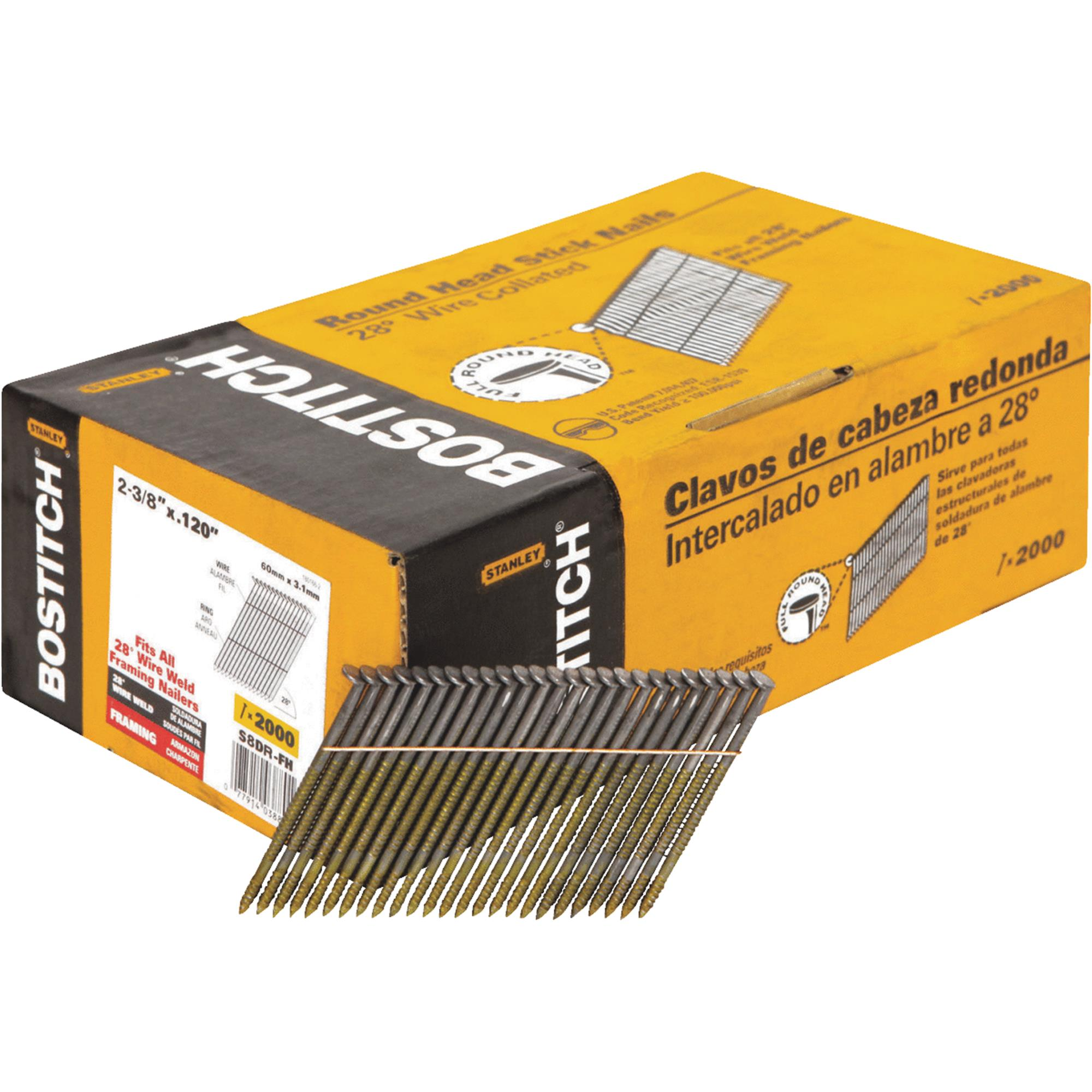 Framing Nail, 2-3/8 In,PK2000 BOSTITCH S8DR-FH