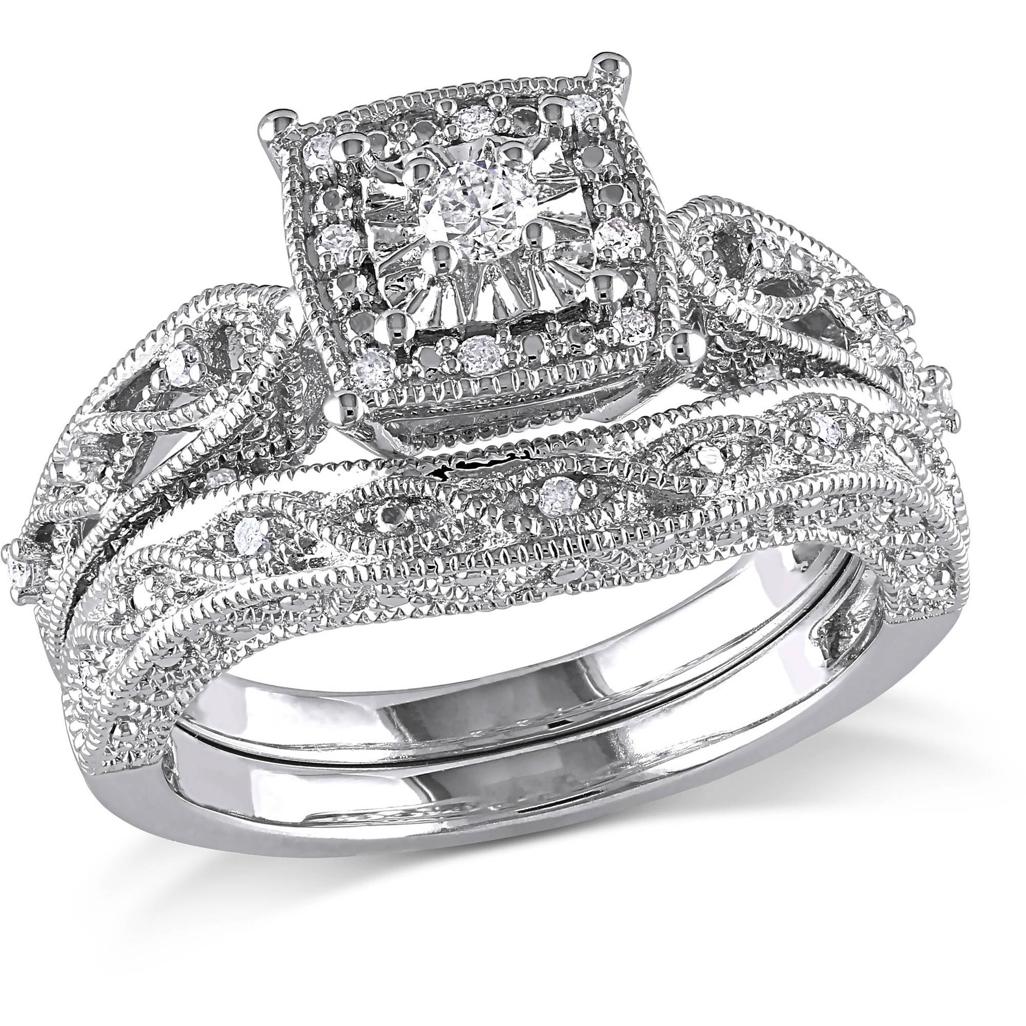 Miabella 1 5 Carat T W Diamond Sterling Silver Halo Bridal Set