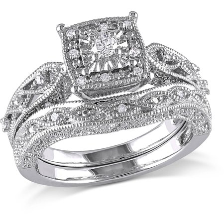 miabella 15 carat tw diamond sterling silver halo bridal set - Sterling Silver Diamond Wedding Rings