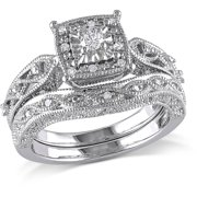 miabella 15 carat tw diamond sterling silver halo bridal set - Wedding Rings From Walmart