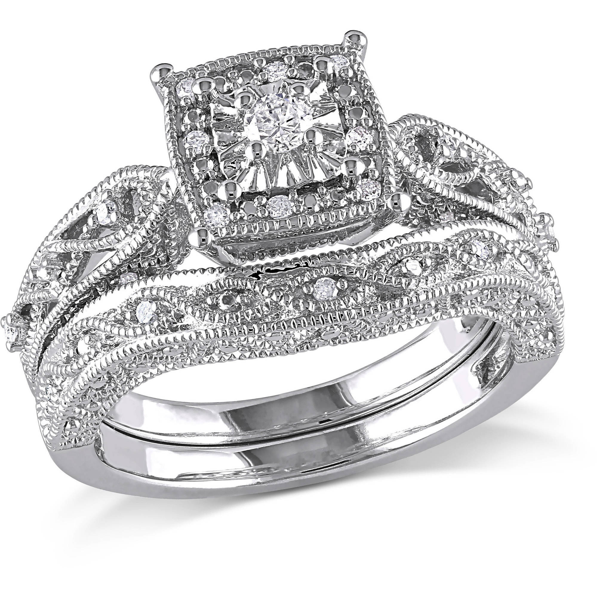 Miabella 1/5 Carat T.W. Diamond Sterling Silver Bridal Set