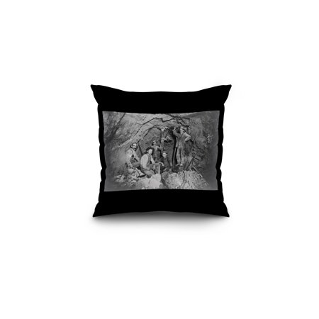 Coeur Dalene  Idaho   Chance Mine Lead Mining   Vintage Photograph  16X16 Spun Polyester Pillow  Black Border