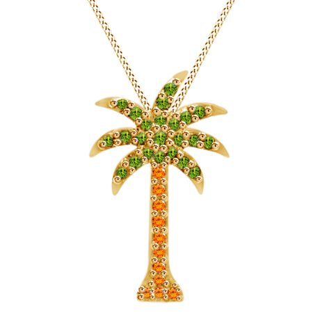 Palm Tree Pendant Necklace In 14k Yellow Gold With 0.18 CT Round Brown & Green Natural Diamond (14k Gold Natural Light)