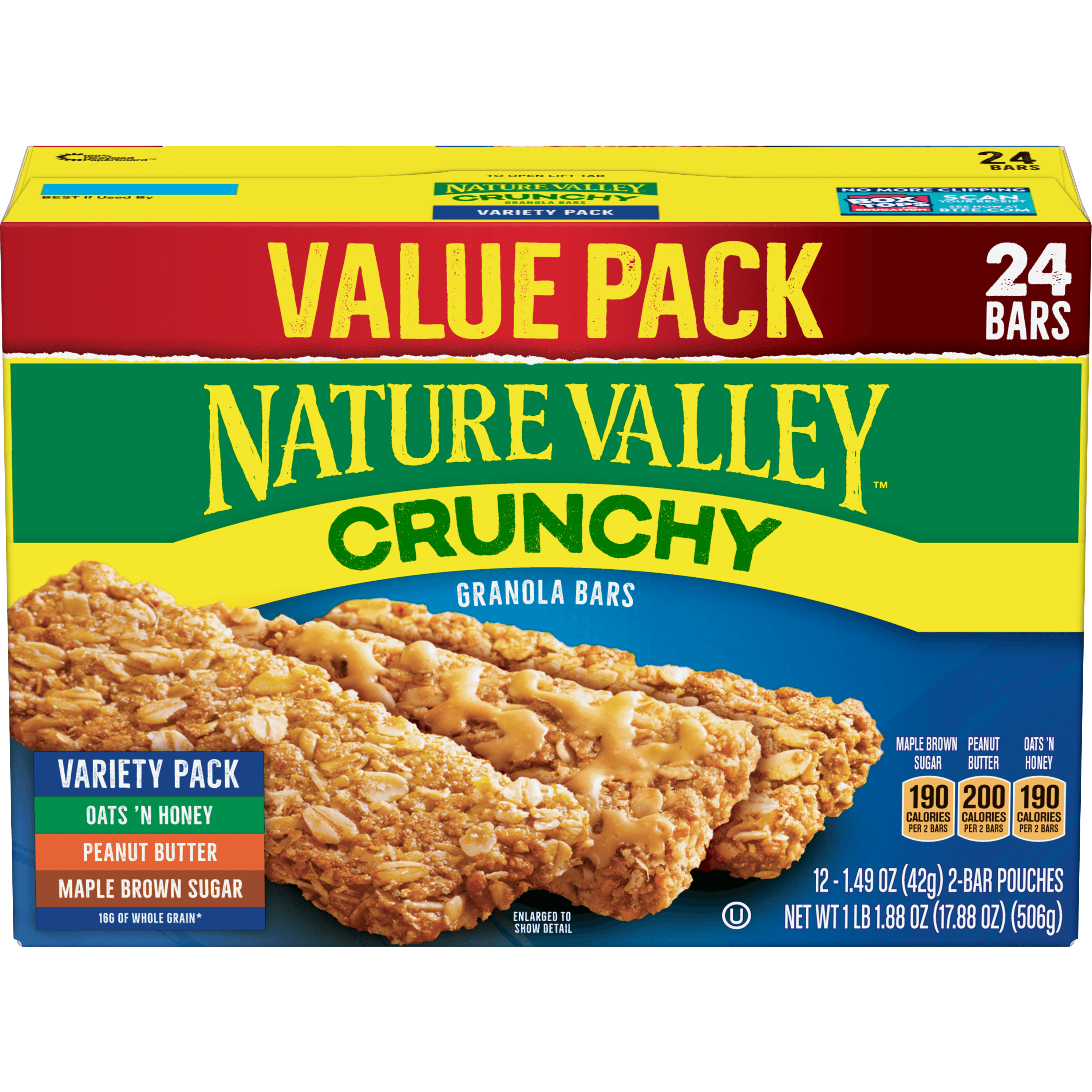 nature valley granola bars crunchy pack variety maple oats brown sugar honey peanut butter walmart oz ct value