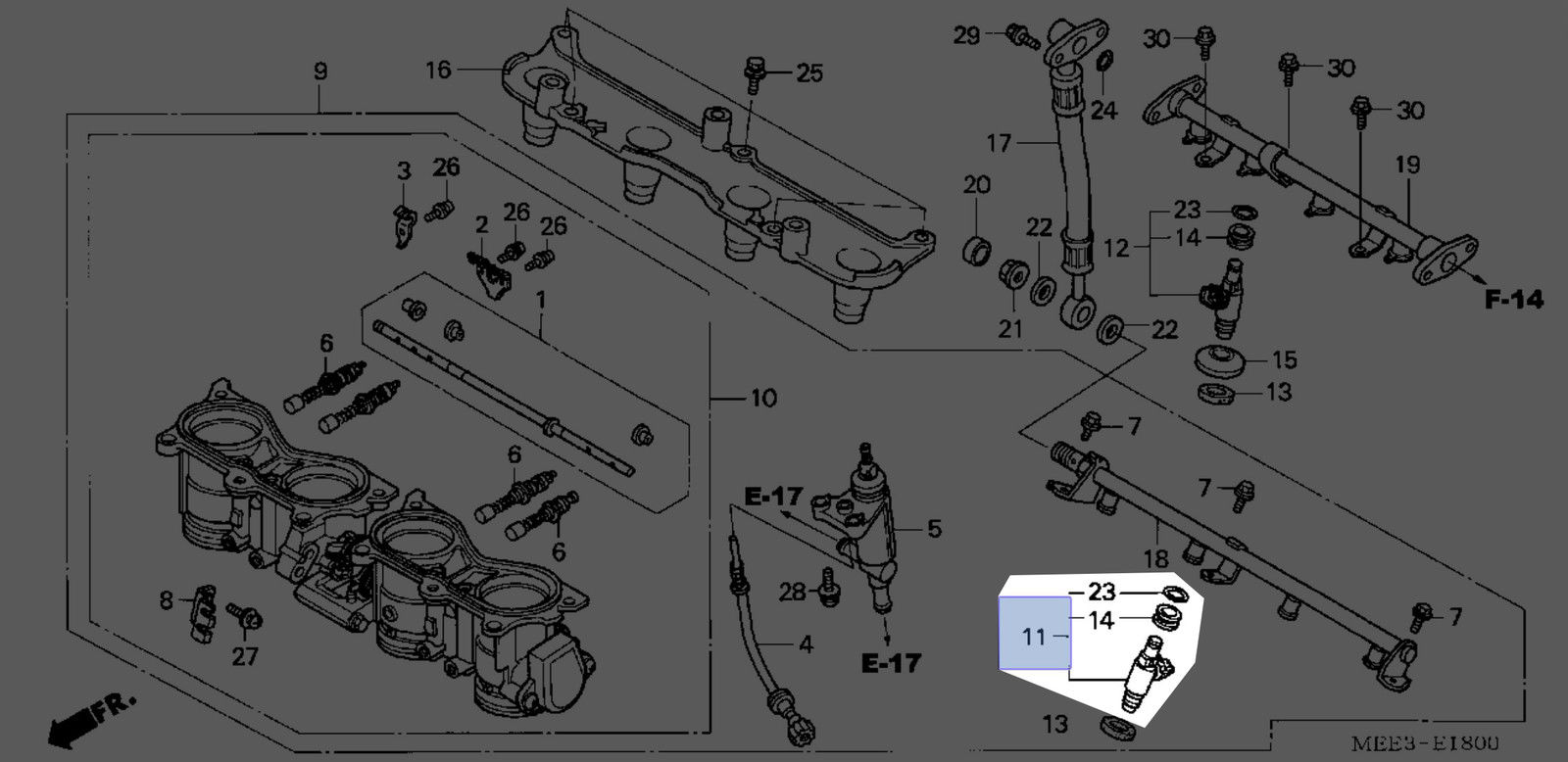16450 Mee Honda Fuel Injector Diagram Assembly New Oem Jpeg 450x450